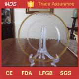 Plaque en verre texturisée fabriquée à la main de chargeur/plaque de dîner ronde de bord