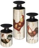 Entwurfs-Weinlese-Antike MDF des Hahn-S/3 hölzern/Metallpapierabziehbild-Zylinder-runder Kerze-Halter