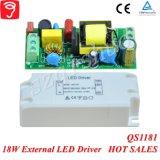 18W External Singel Voltage Isolated LED Alimentação com Ce TUV QS1181