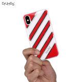 para la cubierta suave Rasguñar-Resistente a prueba de choques híbrida delgada de la caja del gel de la PC del iPhone X de la caja IMD de la raya del modelo rojo duro TPU del oro para el iPhone X