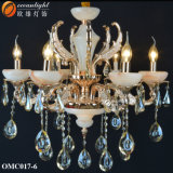 De goedkope Duidelijke AmberKroonluchter van het Hotel van het Wapen van het Glas Moderne met de Kristallen Omc017 van de Regendruppels van het Glas van de Kommen van Koppen