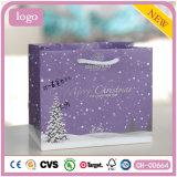 クリスマスの紫色の木の木靴の紙袋、ギフトの紙袋