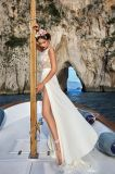 Амели скалистых лодки горловины Split шифон устраивающих свадебные платья