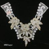 colar de linho Hme967 do laço do colar destacável do vestido do colar de Peter Pan do colar do Crochet branco de 37*31cm