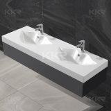 Doppio dispersore di superficie solido di pietra acrilico di vanità della stanza da bagno