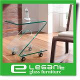 光沢度の高く白い引出しが付いている曲げられたガラスサイドテーブル