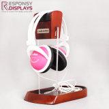 Support en bois acrylique et en bois clair d'écouteur de présentoir d'écouteur