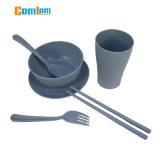 Cl1y-Z15 Comlom umweltfreundliche Weizen-Stroh-Tafelgeschirr-gesetzte Filterglocke-Platten-Cup-Löffel-Gabel-gesetztes Kind-Tafelgeschirr-Set