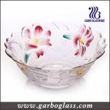 7PCS coloriu o jogo de vidro da bacia da salada com projeto da flor do lírio