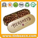 Estaño oval grabado del chocolate de la dimensión de una variable para el rectángulo de almacenaje del alimento