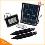 リモート・コントロールの携帯用RGB 20LEDの太陽動力を与えられた庭の機密保護の洪水ライト
