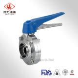 Valvola pneumatica dell'acciaio inossidabile 304/316L della farfalla delle valvole sanitarie del T
