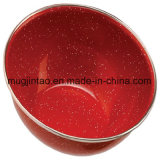 Couleur solide d'Enamelware en rouge avec le jeu extérieur campant de RIM d'acier inoxydable