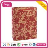 La mode Fleur rouge Pattern Don sac de papier kraft