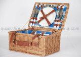 OEM сахарного тростника ручной работы из ротанговой пальмы хранения фруктов корзины для пикника с Picnicware