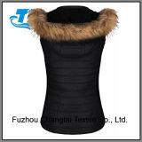 Quilted mulheres colete capuz jaqueta de velo almofadado