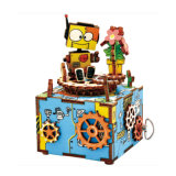 brinquedos educacionais do enigma das crianças Multi-Color de madeira do presente da caixa de música 3D para a decoração da HOME do bebê dos miúdos