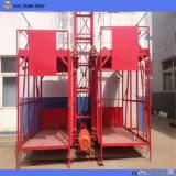 Elevador doble del cargo de la jaula de Ss100/100 1ton/alzamiento material