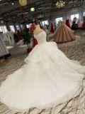 Branco fora do cristal do laço do composto do ombro que franja o vestido de casamento contínuo da flor