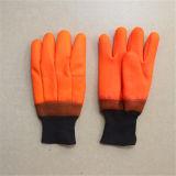 サンディの終わりの泡はさみ金ニットの手首5124.01を搭載するオレンジPVC手袋