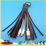 Two in One Leather Tassels key chain DATA Cable with USB Charger Cable