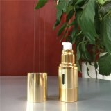 Frasco mal ventilado de vidro de venda quente da bomba do metal mal ventilado cosmético do ouro do frasco 50ml para o cuidado de pele