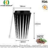 16oz rizado desechables de papel de pared de taza de café (16oz.)