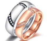 De Kleur die van de Ring van de Minnaars van het Plateren van het Roestvrij staal van Zircon van het Inlegsel van Mirco van de Ring van het Paar van de Steen van CZ lange tijd bewaren