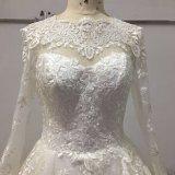 Vestido de casamento nupcial da esfera longa do laço da luva