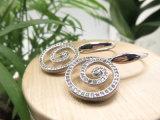 Cercle de style occidental de la forme de crochet ronde Shining Pierre Ziron Earring Eardrop plaqué platine