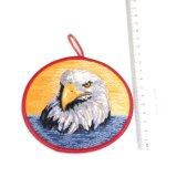 Logotipo personalizado redonda promocionais Eagle Bordados chaveiro
