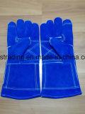 زرقاء بقية جلد [ولدينغ غلوف] مع بطانة
