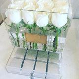 Contenitore di lusso di fiore del plexiglass della radura Handmade su ordinazione di 100% con il coperchio ed il cassetto