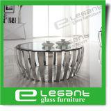 Овальный черный стеклянный журнальный стол с высеканной поддержкой нержавеющей стали