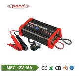 le chargeur à haute fréquence de batterie de voiture de 12V 15A avec l'inverse branchent Mec1215