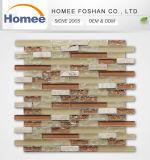 装飾のための新しい設計されていた安いパチパチ鳴る音様式のベージュGlass&Stoneのモザイク・タイル