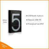 O endereço solar do diodo emissor de luz assina luzes do patamar do número de casa da lâmpada do Doorplate