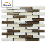 Linee sottili mattonelle di Backsplash della cucina di mosaico di pietra di vetro di colore beige della striscia