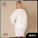 Woemnの長い袖の方法毛皮によって編まれるカーディガンのセーター