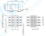 1.27 El tono PA6t+30%G. F doble hembra SMT las filas del conector del cabezal