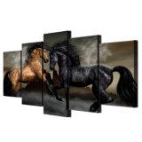 Dは居間の壁の芸術のための5つの増しじんの芸術の黒のブラウンの馬の絵画壁映像を印刷した