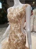 Aoliweiya Mermaid Gold Tulle vestido de casamento