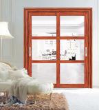 Модный тип раздвижная дверь Tempered стекла с конструкцией решетки