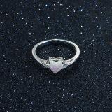 Jóia chapeada da forma do anel da forma do coração do presente 925 da promoção ródio Opal esterlino de prata (557514232212)