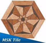 Bois-Regarder la tuile rustique Kl-10-H1 d'hexagone de porcelaine
