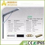20W LEDのLiFePO4リチウム電池およびPIRセンサーが付いている統合された太陽街灯