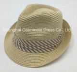 El papel de la moda Sombrero de Paja trenza papel sombrero con el algodón de la banda de la corona (SH039)