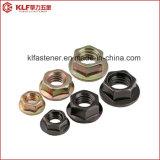 Noix Hex de bride d'acier du carbone avec DIN6923 galvanisé