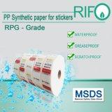 Autocollants résistant à l'eau étiquettes Matériel Jumbo Roll avec certifié MSDS