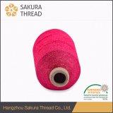 Mh는 뜨개질을 하기를 위한 무지개 빛깔 금속 자수 스레드를 타자를 친다